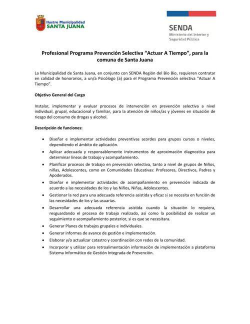 """Concurso Público: Profesional Programa Prevención Selectiva """"Act"""