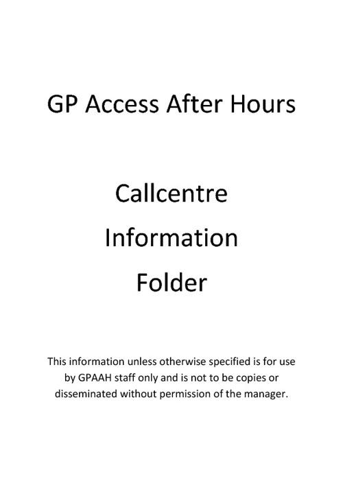 Call Centre Desk Info Folder