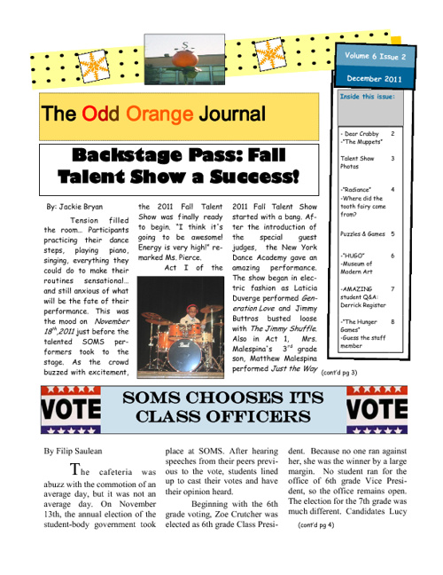 Odd Orange Journal Dec. 2011