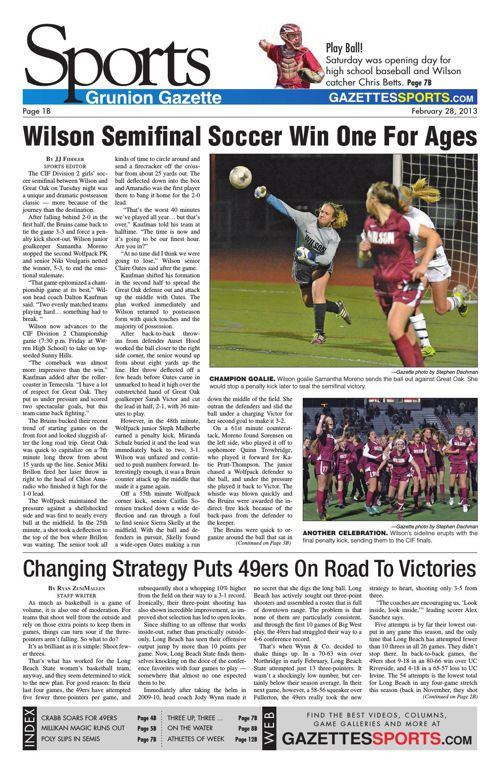 Gazette Sports   February 28, 2013