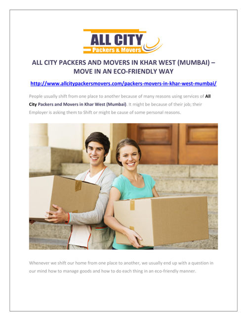 All City Packers and Movers in Khar West (Mumbai)