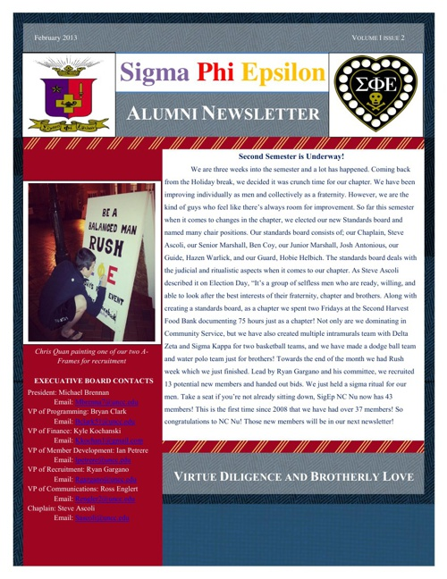 SigEp NcNu - February Alumni Newsletter
