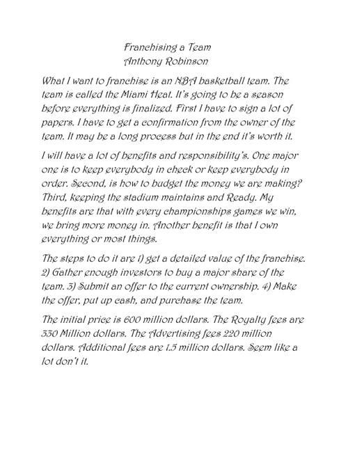 Franchising a BAsketball team