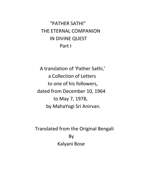 PATHER SATHI VOL 1 English translation-Smt Kalyani Bose