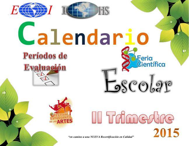 Calendario II Trimestre 2015 desde 1° hasta 10°