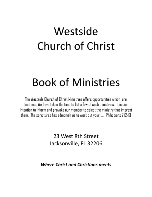 Westside Church of Christ Ministries Book