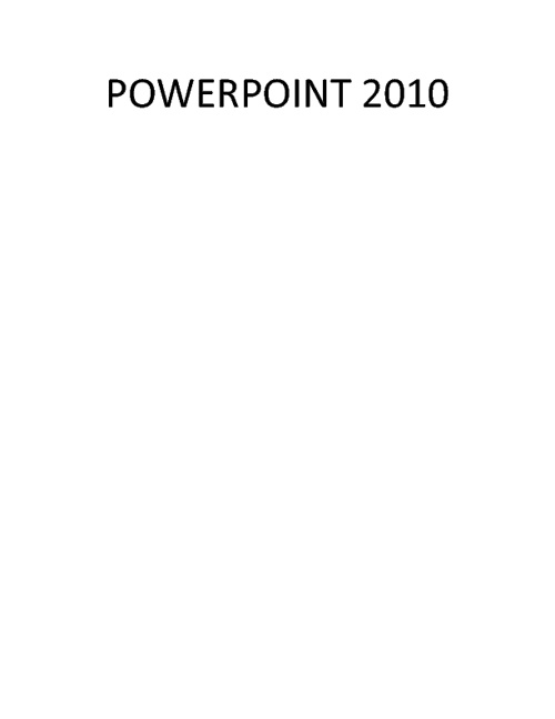 PowerPoint 2012 Vocabulary