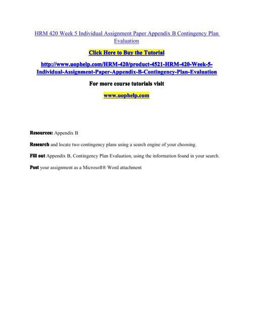 HRM 420 Week 5 Individual Assignment Paper Appendix B Contingenc
