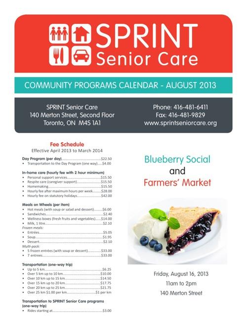 August Community Programs Calendar