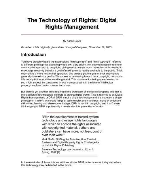 The Technology of Rights: Digital Rights Management By Karen Coy