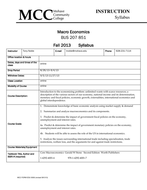Macro FA 13 BUS 207 851 syllabus