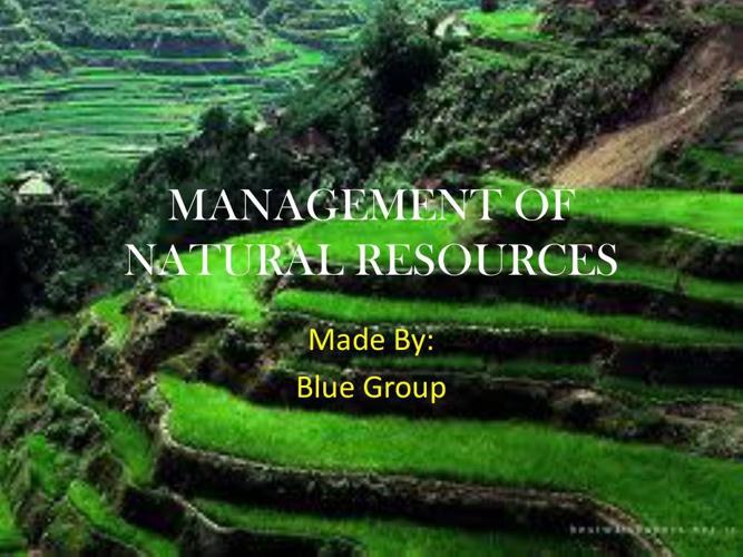 management of natural rsources