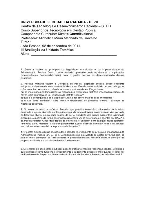III avaliação de direito constitucional