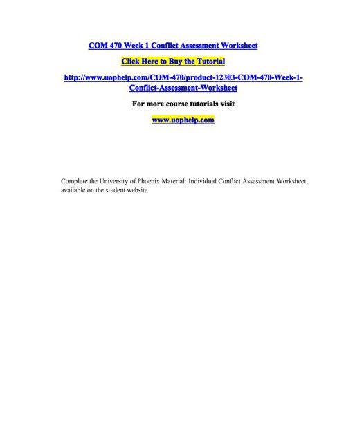 COM 470 Week 1 Conflict Assessment Worksheet