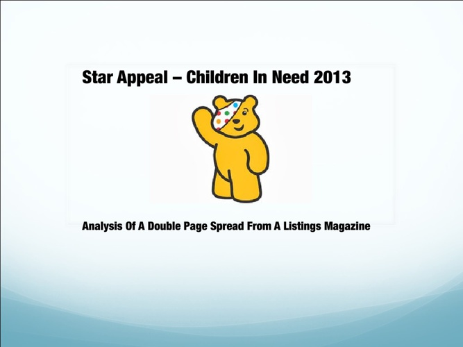 Children In Need - Double Page Spread TV Listings Analysis