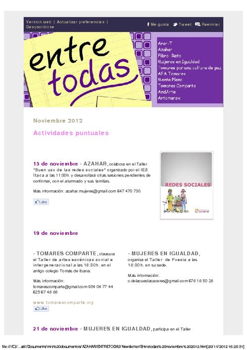 Boletín Entretodas noviembre 2012