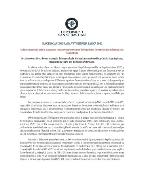 Electrocardiografía Veterinaria Jaime Ojeda