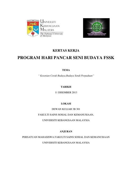 KERTAS KERJA PROGRAM HARI PANCAR SENI BUDAYA FSSK 2013 (1)
