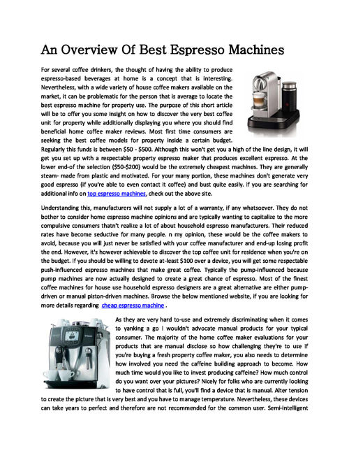 An_Overview_Of_Best_Espresso_Machines