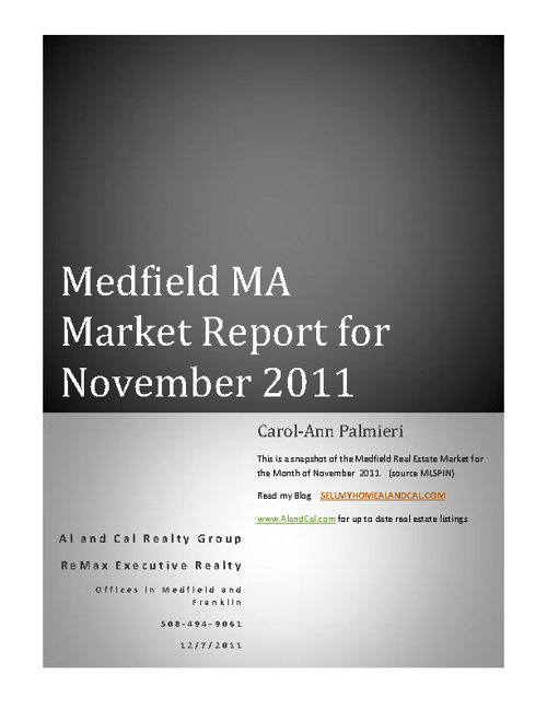 Medfield Market Report November 2011