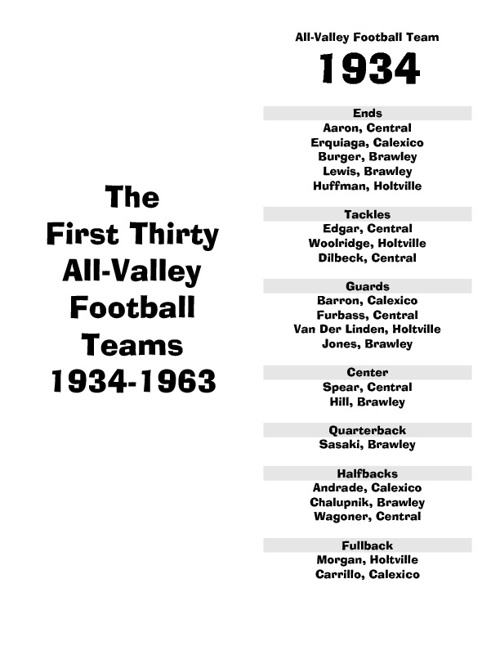1934-1963 All-Valley Football Teams
