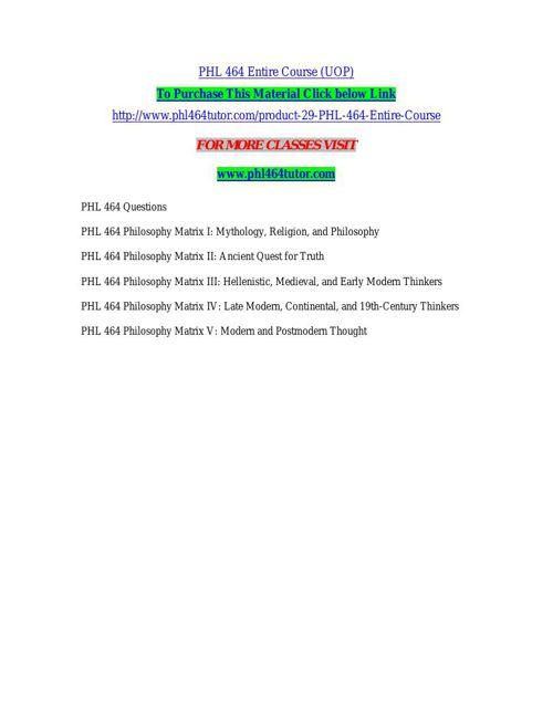 PHL 464 TUTOR Learn by Doing/phl464tutor.com