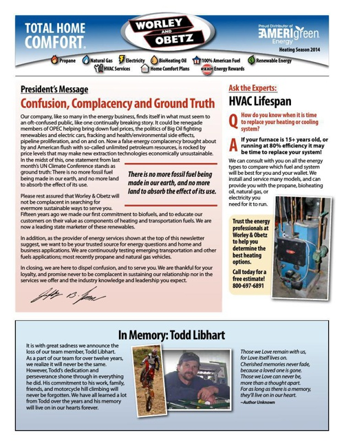 W&O Heating Edition E-Newsletter 2014