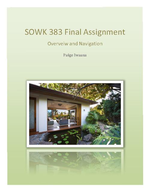 SOWK 383- Self Evaluation E-Portfolio