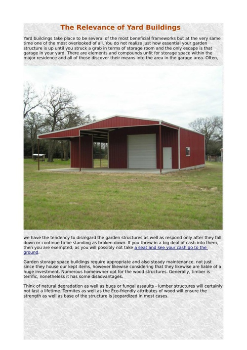 The Relevance of Yard Buildings