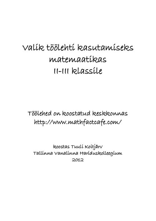 Matemaatika töölehed 2.-3. klassile