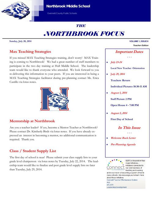 NorthbrookMS Newsletter July 20