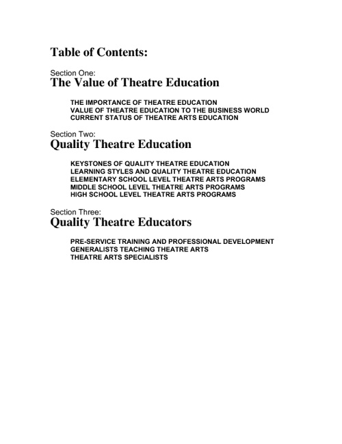 Value of Theatre Education