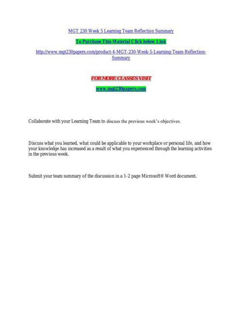 MGT 230 Week 5 Learning Team Reflection Summary