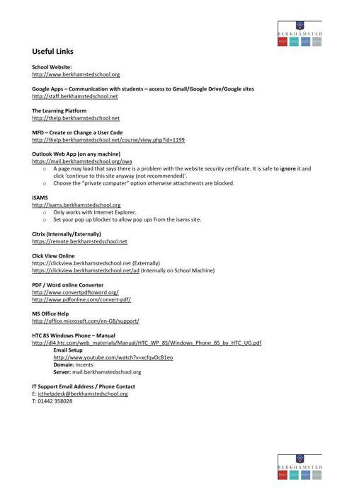 Berkhamsted School IT Handbook