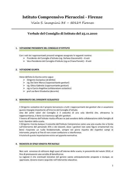 I.C.Pieraccivi - Verbale Consiglio d'Istituto 25 Novembre 10