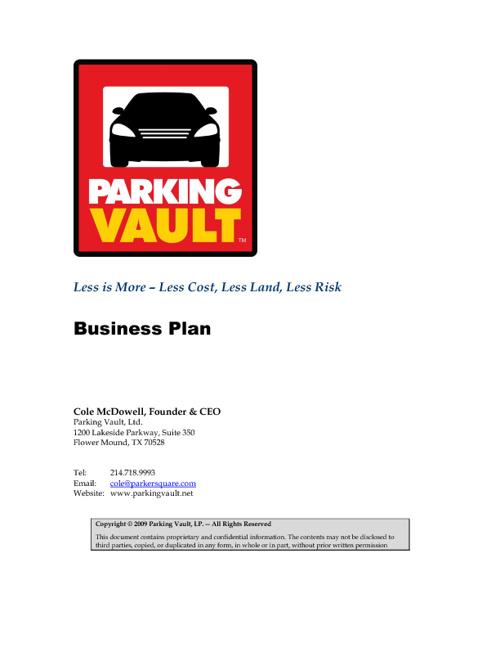 Parking Vault Business Plan