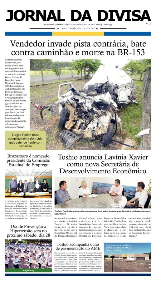 JORNAL DA DIVISA - Edição de 21 e 22 de Abril de 2012.