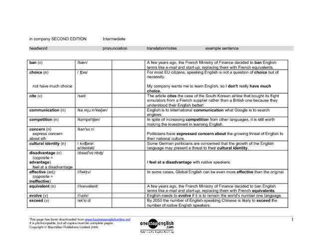 In Company Intermediate Wordlist Unit 1 to 8
