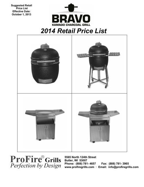 2014 Bravo-Solo Retail Price List