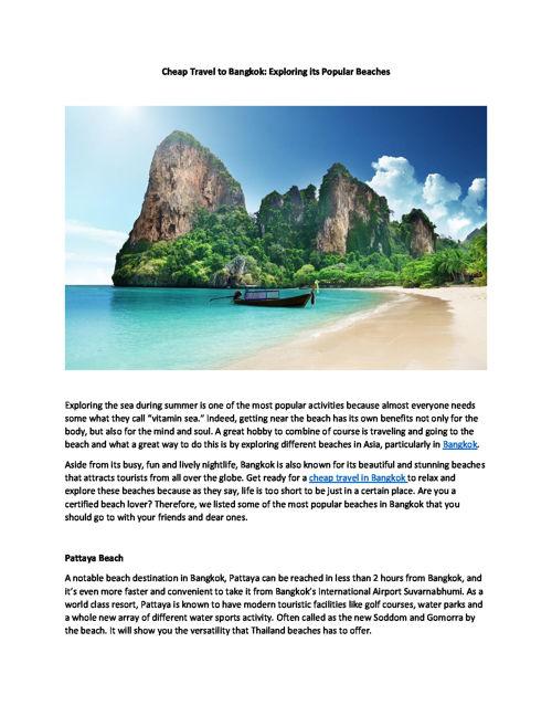 Cheap Travel to Bangkok - Exploring its Popular Beaches