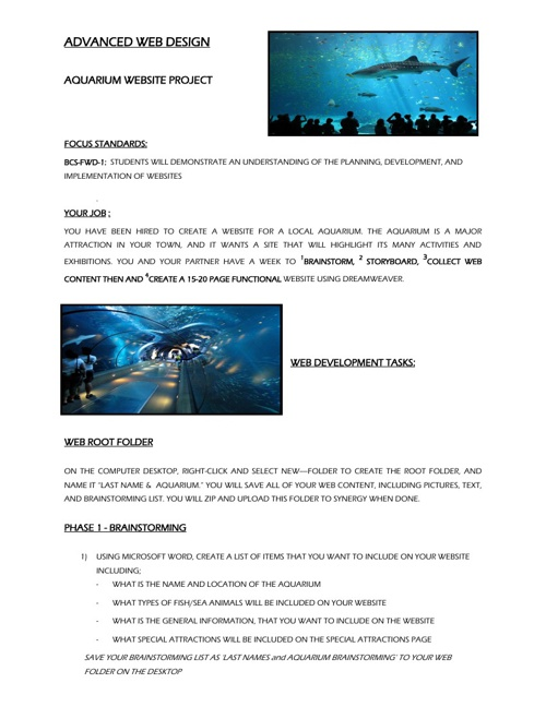 Aquarium Website Design - Group Project