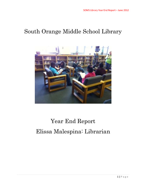 2011-2012 SOMS Library Year End Report