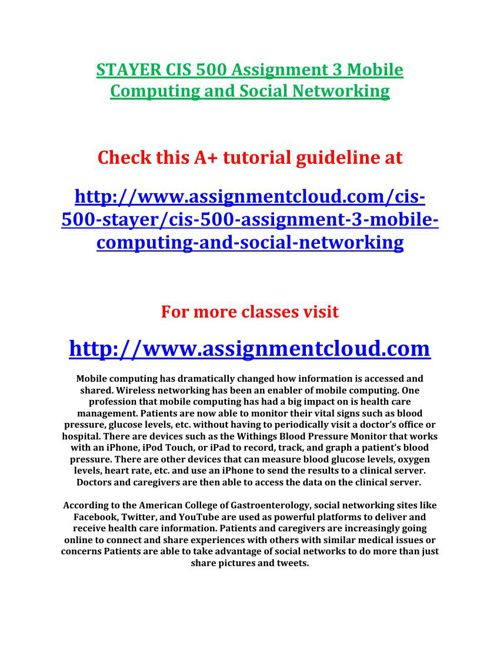 STAYER CIS 500 Assignment 3 Mobile Computing and Social Networki