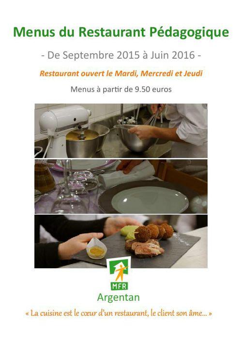 MFR Argentan - Menus Restaurant pédagogique - 2015-2016