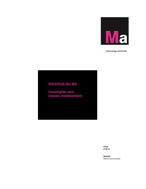 Wegwijs bij Ma (inwerkgids voor nieuwe medewerkers)