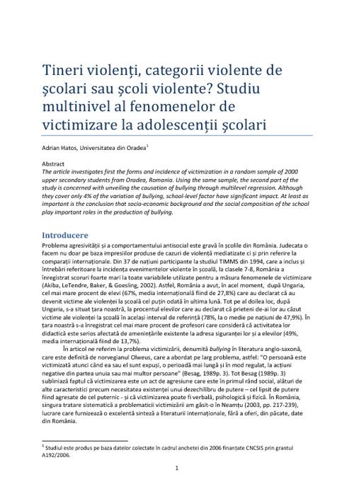 Violența printre elevi