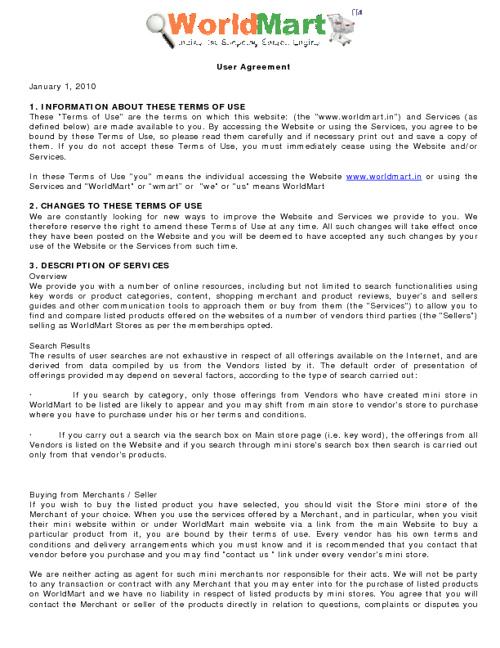 WorldMart User Agreement