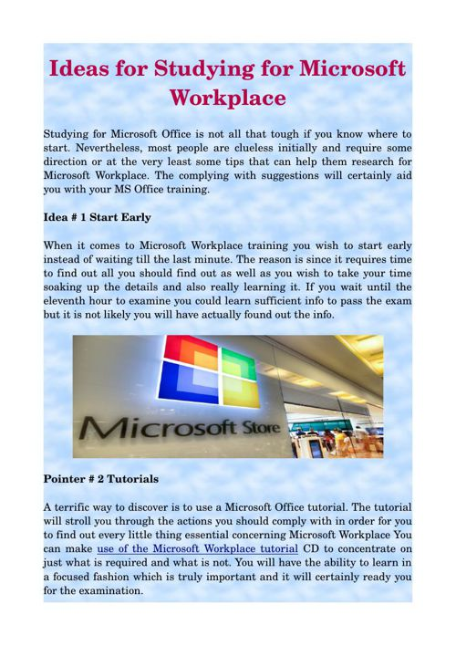 Ideas for Studying for Microsoft Workplace