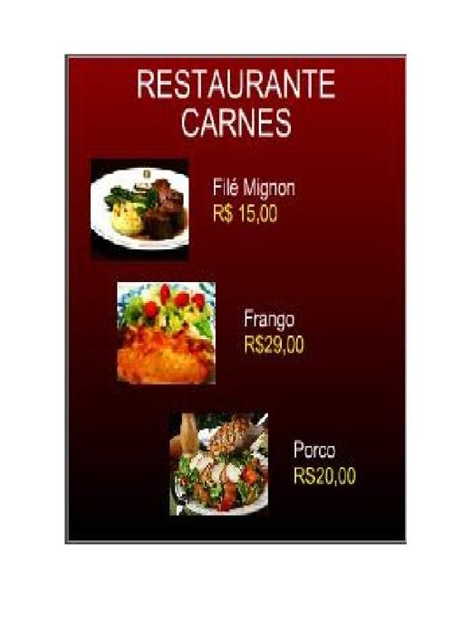 Cardapio Restaurante