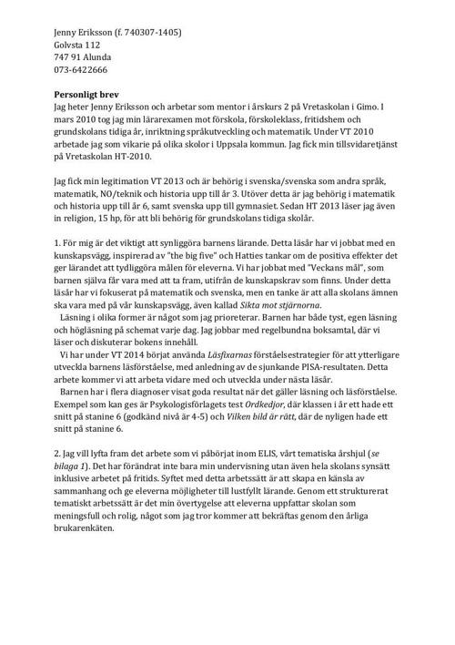Personligt brev Jenny Eriksson
